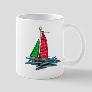 Red & Green Christmas Sailboat Mugs