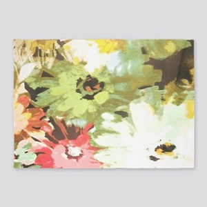 spring watercolor floral daisy 5'x7'Area Rug