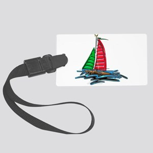 Red & Green Christmas Sailboat Large Luggage Tag