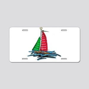 Red & Green Christmas Sailb Aluminum License Plate