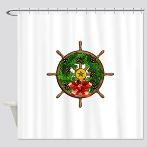 Nautical Ships Wheel Wreath with Bo Shower Curtain