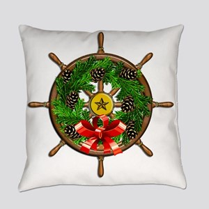 Nautical Ships Wheel Wreath with B Everyday Pillow