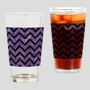 CHEVRON9 BLACK MARBLE & PURPLE MARB Drinking Glass