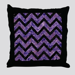 CHEVRON9 BLACK MARBLE & PURPLE MARBLE Throw Pillow