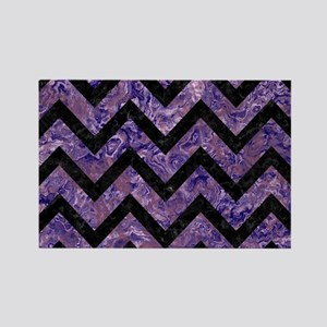 CHEVRON9 BLACK MARBLE & PURPLE MA Rectangle Magnet