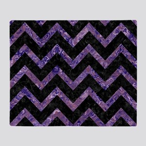 CHEVRON9 BLACK MARBLE & PURPLE MARBL Throw Blanket