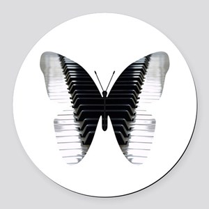 Butterfly Piano Round Car Magnet