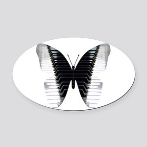 Butterfly Piano Oval Car Magnet