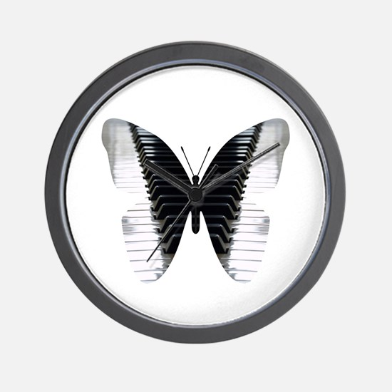 Butterfly Piano Wall Clock