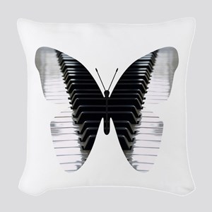 Butterfly Piano Woven Throw Pillow