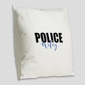 Police Wifey Burlap Throw Pillow