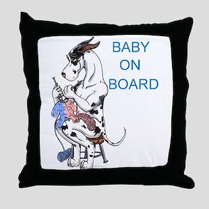 On Board Great Dane Throw Pillow