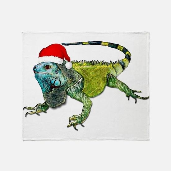 Santa Iguana Throw Blanket