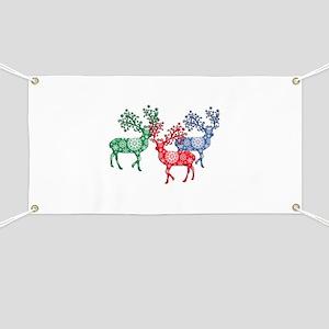 Colorful Herd of Snowflake Reindeer Banner