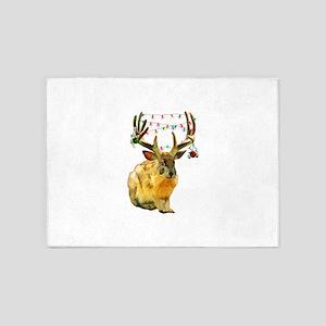 Christmas Jackalope 5'x7'Area Rug