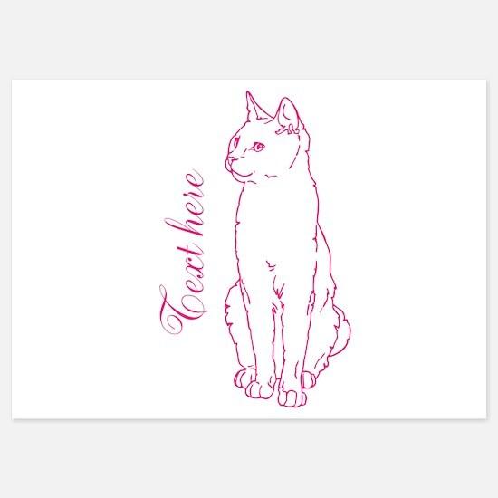 Pink Custom Cat Design Invitations