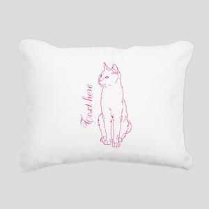 Pink Custom Cat Design Rectangular Canvas Pillow