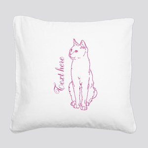 Pink Custom Cat Design Square Canvas Pillow