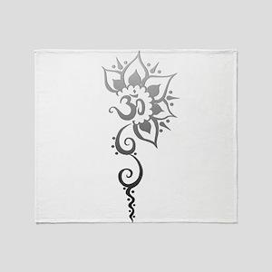 Rising Om - Silver fade Throw Blanket