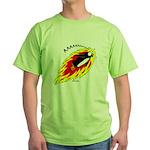 Flaming Flying Penguin Green T-Shirt