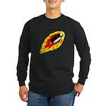 Flaming Flying Penguin Long Sleeve Dark T-Shirt
