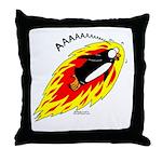 Flaming Flying Penguin Throw Pillow