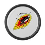 Flaming Flying Penguin Large Wall Clock