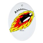 Flaming Flying Penguin Oval Ornament