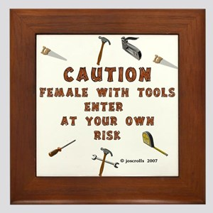 Female with Tools Framed Tile