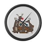 Reindeer Games Large Wall Clock