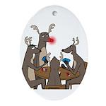 Reindeer Games Oval Ornament