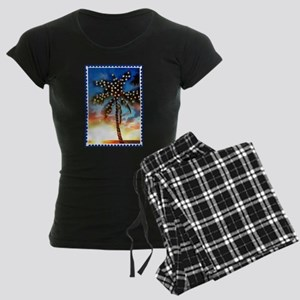 Palm Tree Stamp at Sunset wi Women's Dark Pajamas