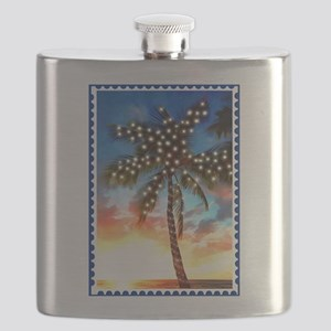 Palm Tree Stamp at Sunset with Christmas Lig Flask
