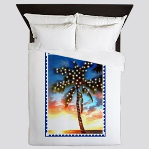 Palm Tree Stamp at Sunset with Christm Queen Duvet