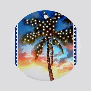 Palm Tree Stamp at Sunset with Chri Round Ornament