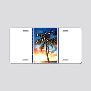 Palm Tree Stamp at Sunset w Aluminum License Plate