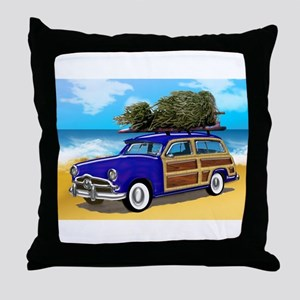 Christmas Tree on a Woodie Surfer Car Throw Pillow