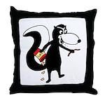 Skunk Snacking Throw Pillow