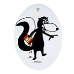 Skunk Snacking Oval Ornament