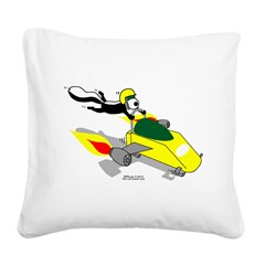 Skunk Sledding Square Canvas Pillow