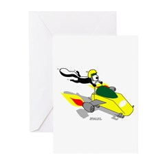 Skunk Sledding Greeting Cards (Pk of 10)