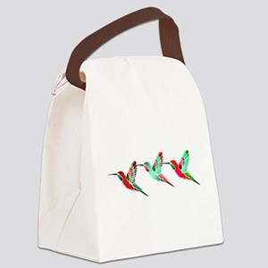 Red and Green Tropical Christmas Canvas Lunch Bag