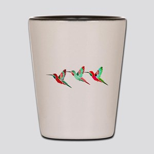 Red and Green Tropical Christmas Hummin Shot Glass