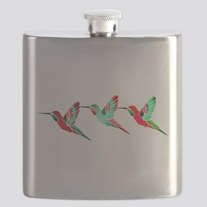 Red and Green Tropical Christmas Hummingbird Flask