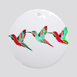 Red and Green Tropical Christmas Hu Round Ornament
