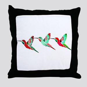 Red and Green Tropical Christmas Humm Throw Pillow