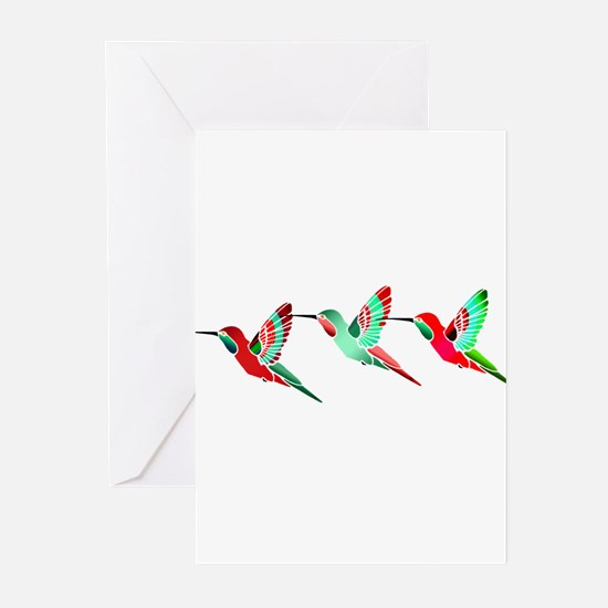 Red and Green Tropical Christmas Hu Greeting Cards