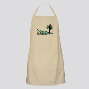 Christmas Alligator near Palm Tree with Gif Apron