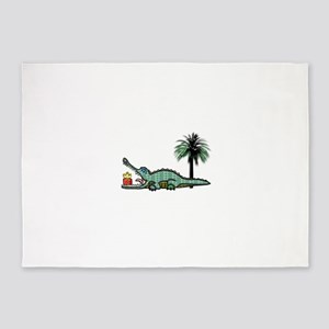 Christmas Alligator near Palm Tree 5'x7'Area Rug