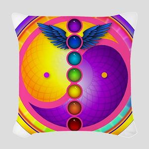 chakra_mandala Woven Throw Pillow